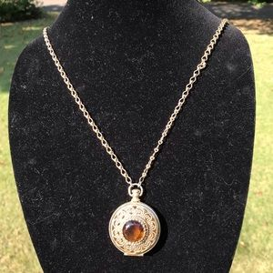 Vintage long amber glass locket necklace
